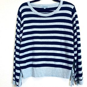Joseph A., Navy Blue/Gray Striped Pullover Sweater